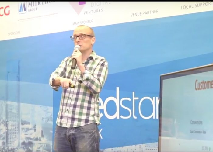 Chris Armstrong presenting Transporters.io at Seedstars Bangkok